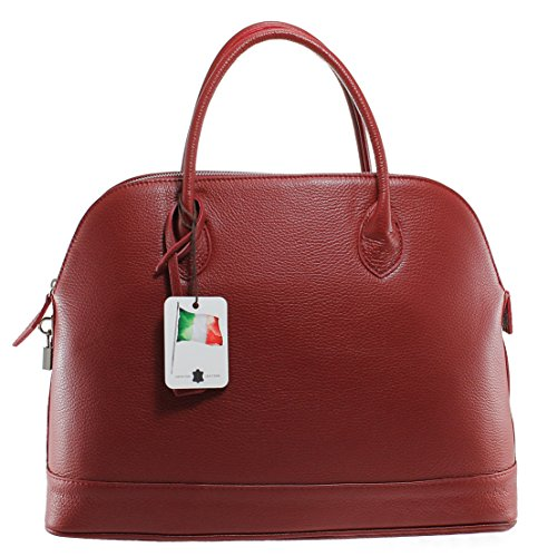 Elegante 40x30x15cm Tasche Rot echtes 100 in CTM klassische Italy Leder Made Damen BZdxTBq