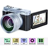 Digitalkamera Camcorder, Full HD 1080p 24.0MP 30FPS Vlogging Kamera WiFi Videokamera Camcorder mit Weitwinkelobjektiv, 16X-Digitalzoom, 3,0