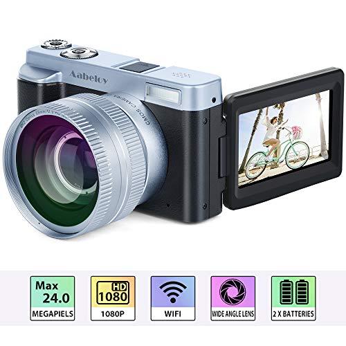 "Digitalkamera Camcorder, Full HD 1080p 24.0MP 30FPS Vlogging Kamera WiFi Videokamera Camcorder mit Weitwinkelobjektiv, 16X-Digitalzoom, 3,0""IPS-Rotations Flip Screen Kamera Recorder, 2 Batterien"