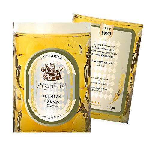 Einladungskarten Geburtstag als cooler Bierkrug | 25 Stück | Lustige Einladungen | Einladungskarte | Karte Einladung | Inkl. Druck Ihrer Texte