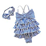 YONKINY Costume da Bagno Bambina Carino Strisce Costume Intero con Bowknot Fascia Capelli Costume Mare Piscina Bimba Beachwear Swimsuit (Blu, 3-4 anni-100)