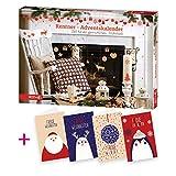 itenga AktionsSet3 1x Roth gefüllter Adventskalender für Rentner mit Frühstücksartikeln + 4 Weihnachtskarten Klappkarten
