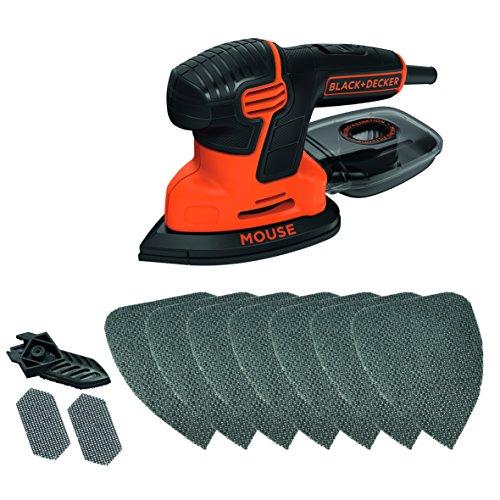Black+Decker KA2000AT-QS - Pack con lijadora de detalles Mouse, 10 accesorios y lata, 230 V, 120 W, negro y naranja