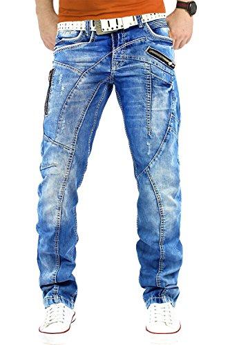 Cipo & Baxx Herren Jeans Denim Mens Pants Hose Freizeithose Clubwear Bestseller, Blau, W32/L32 -