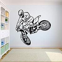 Applique Wall Sticker Ideawall Decal Motorcross Free Style Dirt Bike Sticker Bedroom Sport Dirt Bike Motorcycle Personalised Boys Teenager Room 84X90Cm