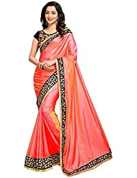 Saree By ShivPriya Women's Embroidered Paper Silk Half And Half Georgette Saree With Blouse Material
