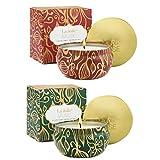 La Jolíe Muse Pack de 2 VelasPerfumadasCalabaza, Canela & Madera de Abeto, Cera de Soja Natural, Vela de Viaje en Lata de estañoa, 45 Horas Cada una