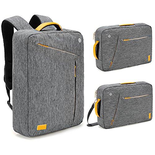 Preisvergleich Produktbild Laptop Rucksack 17.3 Zoll, Evecase Universal 3-in-1 Umwandelbar Rucksack Umhängetasche mit Laptopfach / Akteneinteilung / Kopfhörerloch / Zubehörfächer - Grau