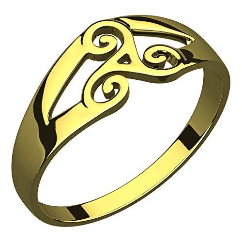 Anello in Argento Placcato Oro 14 carati, Nodo Celtico della Trinità