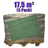 5er Pack Dachschindeln Bieberschwanz Grün 17,5 m²