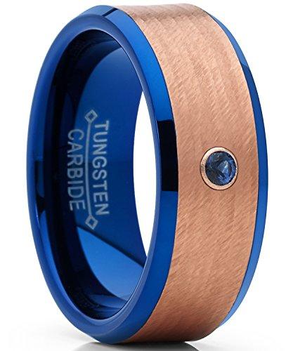 Herren Blau und Rosa Ton Wolframcarbid Ring Verlobungsringe Trauringe Hochzeitsband mit echtem Saphir-Edelstein Größe 61 (Schwarz Und Rosa Saphir-ring)