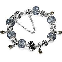 A TE® Bracciale Charms Cristalli grigio nero in oro bianco Regalo Donna SKU:JW-B24
