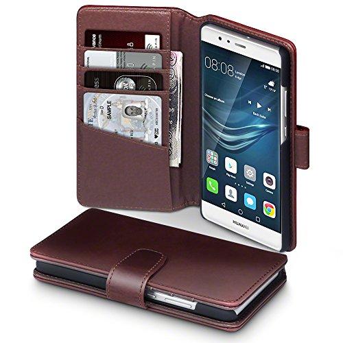 Huawei P9 Case, Terrapin [ECHT LEDER] Brieftasche Case Hülle mit Kartenfächer und Bargeld für Huawei P9 Hülle Braun