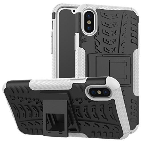 Apple iPhone X Hülle, Voguecase Hybrid Hülle Schutzhülle Case Cover (Kickstand/Rot) + Gratis Universal Eingabestift Kickstand/Weiß