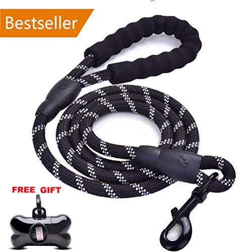 OUGE 5 FT Strong Dog Lead with Comfortable Padded Handle and Highly Reflective Threads Dog Leashes for Medium and Large Dogs