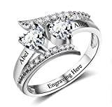hjsadgasd Engraving Name Heart Rings for Women Personalized 2 Simulated Birthstone Promise Rings for Her Womens Wedding Bands Friendship Rings