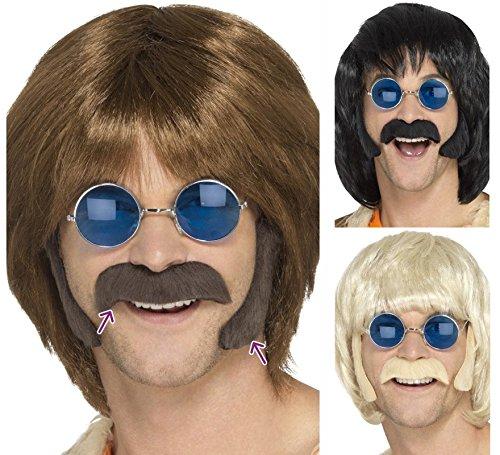 Smiffys Kit Disfraz de Hippie, castaño, con Patillas y Bigote