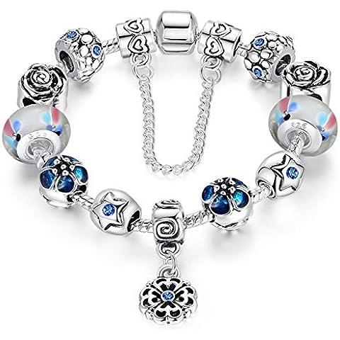 Jeracol Braccialetto Pandora compatibile con perle in vetro di murano, cuore ciondolo e catenina di sicurezza