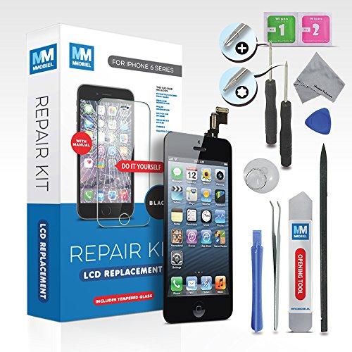 MMOBIEL Pantalla táctil LCD para iPhone 6 (Negro) Kit profesional de reparación para el ensamble del digitalizador de vidrio frontal. Incluye kit de herramientas + vidrio templado + sencillo manual