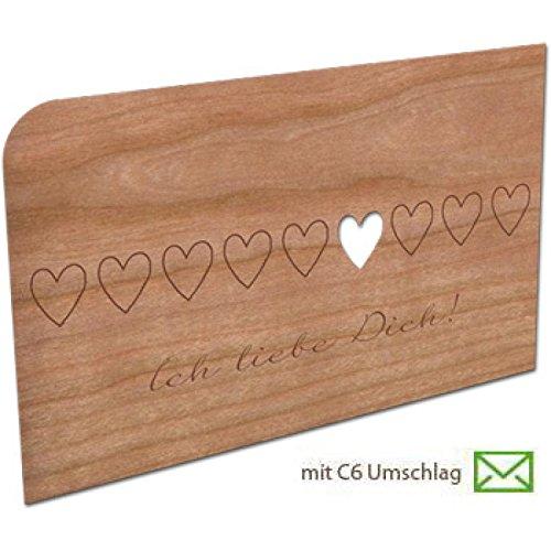 Grußkarte aus Holz - Ich liebe Dich mit Umschlag