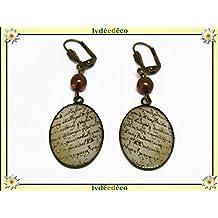 Boucles d'oreilles rétro résine Ecritures marron sepia beige parchemin laiton bronze perles verre 25mm