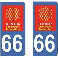Paire Sticker immatriculation 66 - Pyrénées Orientales