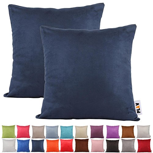 PLANDV® Solid Color Faux Suede Lightweight Decorative Cushion Cover Pack of 2,Available in 21 Colors & 7 Sizes?45x45cm,Navy Blue)