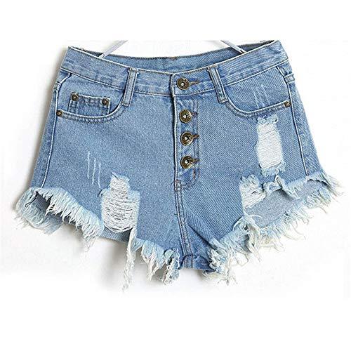 WUJIANCHAO Shorts Vintage Quaste Rivet Ripped Hohe Taille Kurzen Jeans Punk Sexy Hot Frau Denim Shorts SeichtFarbe