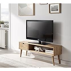 Mesa televisión, diseño vintage, madera maciza natural,100 cm x 40 cm x 30 cm