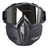 Aolvo Motorradbrillen-Maske, winddichte Gesichtsmaske mit Brille, Mehrzweck-Ausrüstung für Airsoft / Tränengas / Paintball / Skifahren / Reiten / Schneemobilfahren / Radfahren, für Kinder und Erwachsene, Carbon Fiber