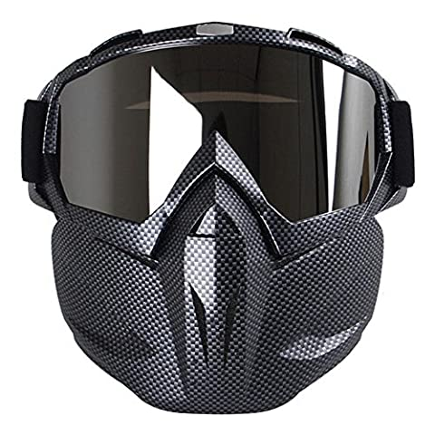 KOBWA Motorcycle Face Mask with Goggles, Fog-proof Windproof Open Face Helmet for Motocross, Skiing, Riding, Outdoor