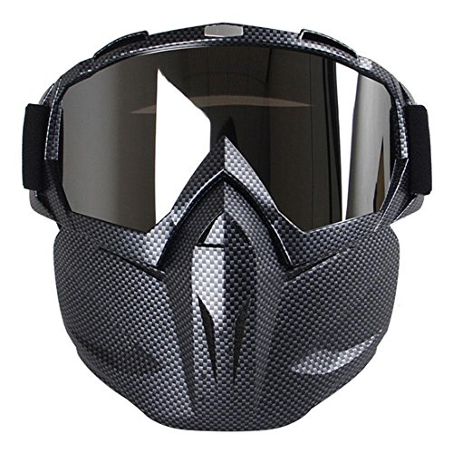 Aolvo - Occhiali da moto, antivento, multiuso, ideali per softair, CS, paintball, sci, moto, bici, motoslitta, per adulti e bambini, Carbon Fiber
