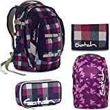 satch by Ergobag Berry Carry 4-teiliges Set Rucksack, Schlamperbox, Geldbeutel & Regenhaube Lila