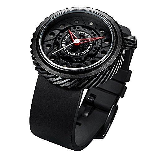 Break Marke Neu Original Herren Schwarz Rubber Strap Sport Fashion Cool Wasserdicht Rad Design Uhren