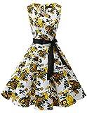 Bridesmay Damen Vintage 1950er Rockabilly Ärmellos Retro Cocktailkleid Partykleid Yellow Flower 4XL