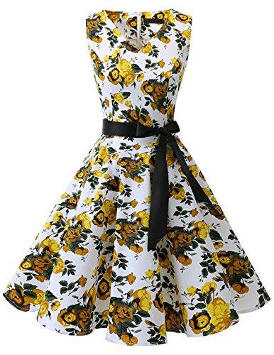 Bridesmay Damen Vintage 1950er Rockabilly Ärmellos Retro Cocktailkleid Partykleid Yellow Flower 3XL