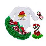 DecStore Baby Girls Mein erster Weihnachtskostüm Party Kleid Tutu Kleidung 4PCS Set(Christmas Hat S)