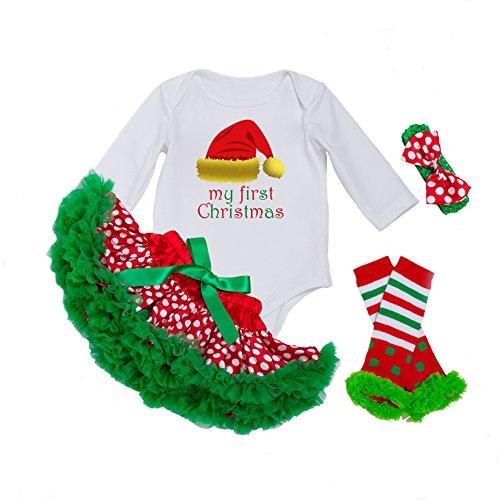 (DecStore Baby Girls Mein erster Weihnachtskostüm Party Kleid Tutu Kleidung 4PCS Set(Christmas Hat M))