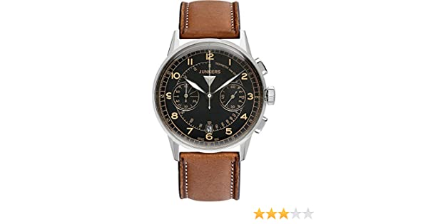 Herren Quarz Leder 69705 Junkers braun Chronograph Armbanduhr 2WDHIE9Y