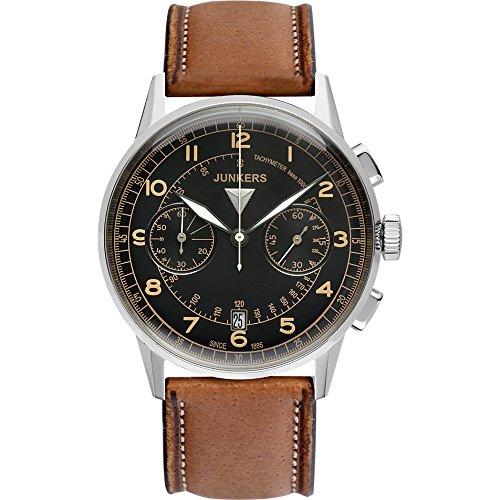 Junkers Herren-Armbanduhr Chronograph Quarz Leder 69705,braun