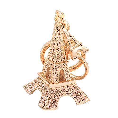 Teydhao portachiavi a forma di torre eiffel con strass per donna,donna, ideale come decorazione per personalizzare zaino, borsa, perfetto regalo/pensiero regalo per bambini (champagne)