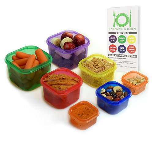 Live Smart Kitchen 7 Piece Multi-Colored Portion Control Container Kit with Guide, Leak Proof by Live Smart Kitchen - Portion Control Kit