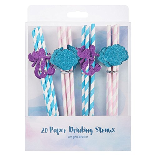 Mermaid Glitter Paper Drinking Party Straws Blue & Pink 20 Pack