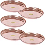 SHIV SHAKTI ARTS Handmade Pure Copper Plate Small Sized Hammered Deisgned Thali Dish Homeware Hotelware Dinnerware Kitchenware Serveware Diameter-24 Cm Each ::Set Of 5