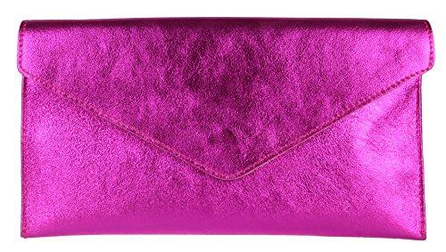 Girly Handbags Wildleder Clutch Tasche Unterarmtasche Umschlag Handgelenktasche (Metallic Fuchsia) -