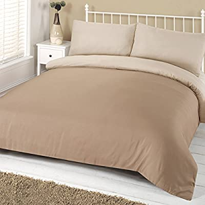 Linens Limited Plain Reversible Complete Bedding Set, Mink/Cream, Double - cheap UK light shop.