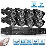 FLOUREON Kit de Surveillance 5 en 1 Enregistreur DVR AHD 8CH 1080N AHD + 8 Caméra Extérieur 3000TVL 2.0MP(Vision Nocturne, Détection de Mouvement, Alerte Mail, Système Cloud, Sauvegarde USB, P2P)