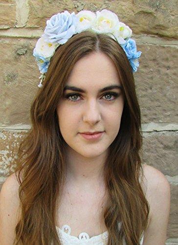 Bleu clair ivoire Argent Rose cheveux fleur couronne Serre-tête guirlande VTG Festival 66 * * * * * * * * exclusivement vendu par – Beauté * * * * * * * *