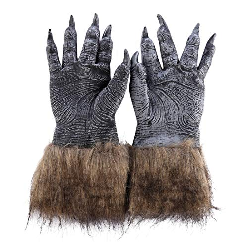 Halloween Werwolf Wolf Paws Cosplay Krallen Handschuhe Creepy Horror Devil Kostüm Party Dekoration - schwarz ()