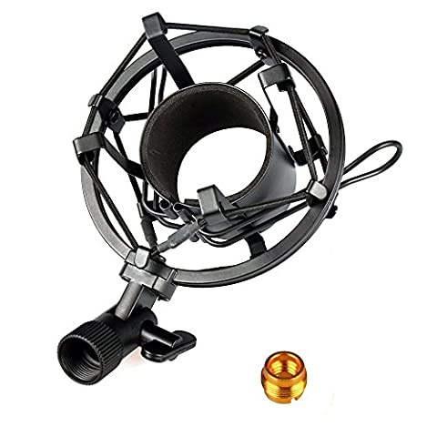 MyArmor Professional Metal Microphone Shock Mount Bracket (Diameter 45MM, fits 43-47mm Microphone) Shockproof Mic Studio Holder, Black